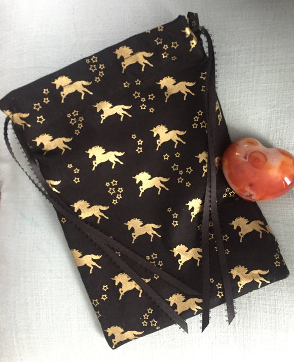 Black and Gold Unicorn Tarot Bag