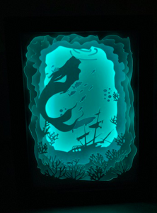 Mermaid Scene Shadow Light Box