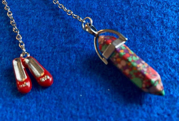 Ruby Slippers Dyed Crystal Pendulum