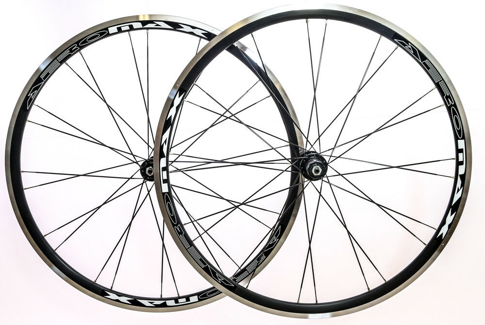 AEROMAX 700c Road Comp Black Road Bike Wheelset Clincher Shimano/SRAM 7-10s NEW