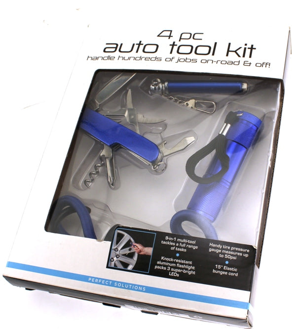 PERFECT SOLUTIONS 4 Piece Auto Tool Kit Automobile Car Home NEW