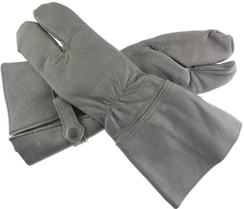 German Military Cycle Leather Gloves 2 - Finger Germany Medium Med M Gauntlet