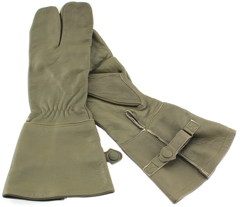 German Military Cycle Leather Gloves 2 - Finger Germany Large Lg Olive Gauntlet