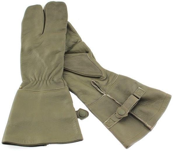 German Military Cycle Leather Gloves 2 - Finger Germany Med M Drab Olive USED