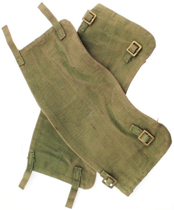 Belgian Military Gaiters Army Green Thick Heavy - Duty Canvas and Leather USED