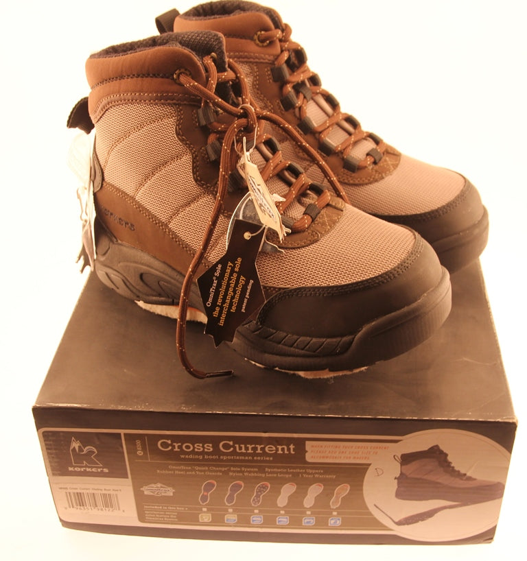 KORKERS CROSS CURRENT Wading Shoes Felt Sole Men's Size 8 Boots New in Box