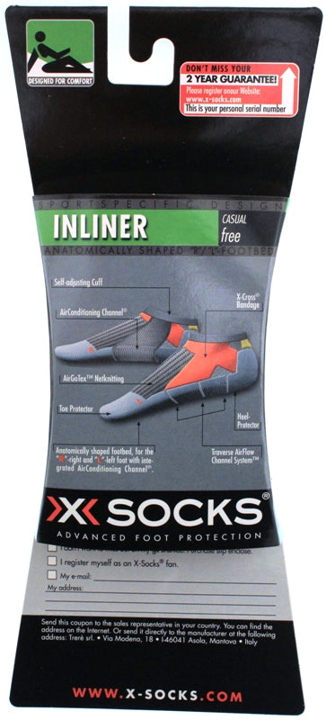 X-SOCKS INLINER Low Casual Free MSRP $23 US 6.5 - 8.5 EU 39 - 41 White NEW