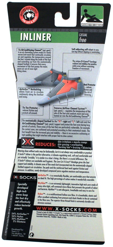 X-SOCKS INLINER Low Casual Free MSRP $23 US 9 - 11 EU 42 - 44 White NEW