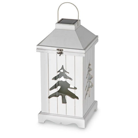 Astonica Wood Solar Light Lantern Holiday Style Wood Construction Evergreen Tree