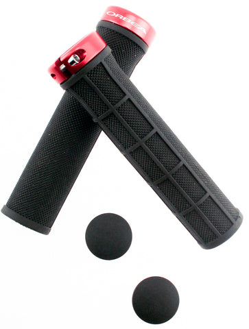 ORBEA LOGO Bicycle Bike 22.2 Handlebar Lock-On Grips Flat MTB Red Black Pr NEW