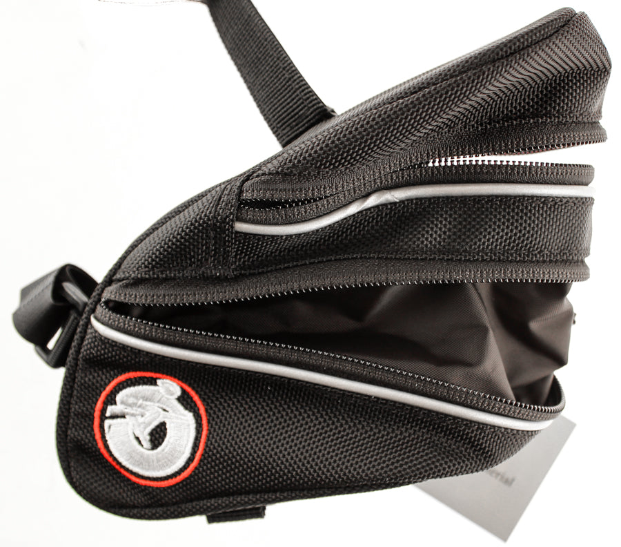 Bicycle Saddlebag Saddle Bag Bike Black  Straps Reflective Expandable NEW