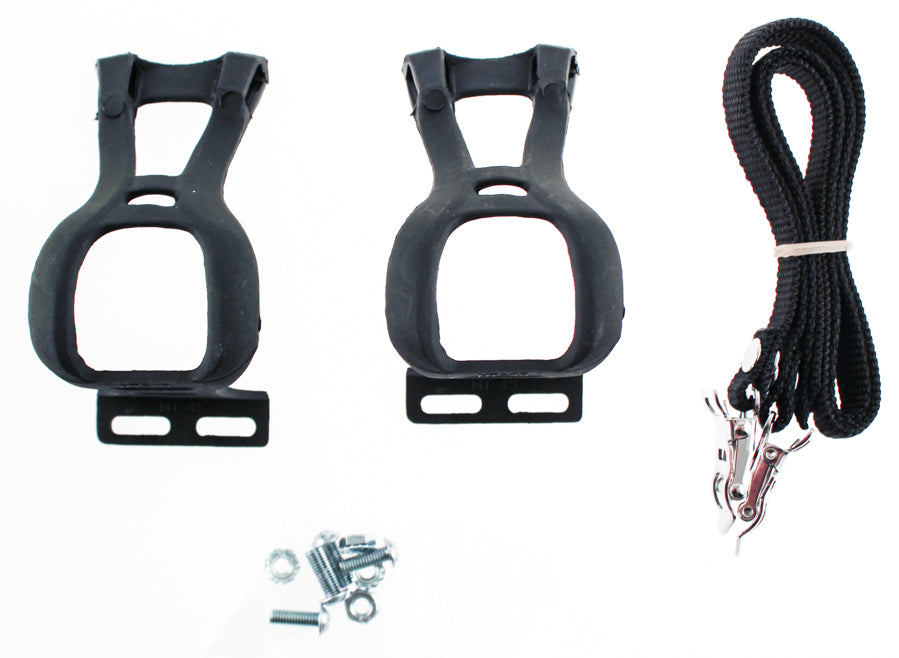 Road Bike Bicycle Small Pedal Toe Clips & Strap Set Pair Sm S Black Pr NEW