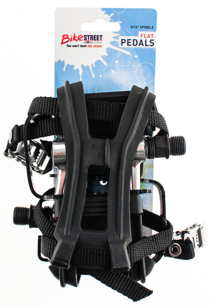 "Flat Platform Bike Pedals 9/16"" With Med Toe Clips + Straps Black Alloy NEW"
