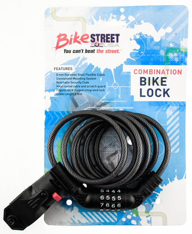 BIKE STREET Combination Bike Lock Cable 8mm x 6' Combo Flexible W/ Mounting NEW