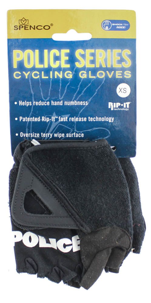 SPENCO POLICE RIP-IT X-Small Cycling Black Bike Padded Half Finger Gloves NEW