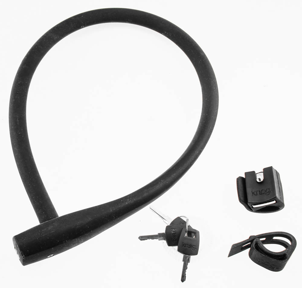 KNOG KRANSKY 880mm Cable Bike Lock With Bracket Black Keyed QR Mount NEW