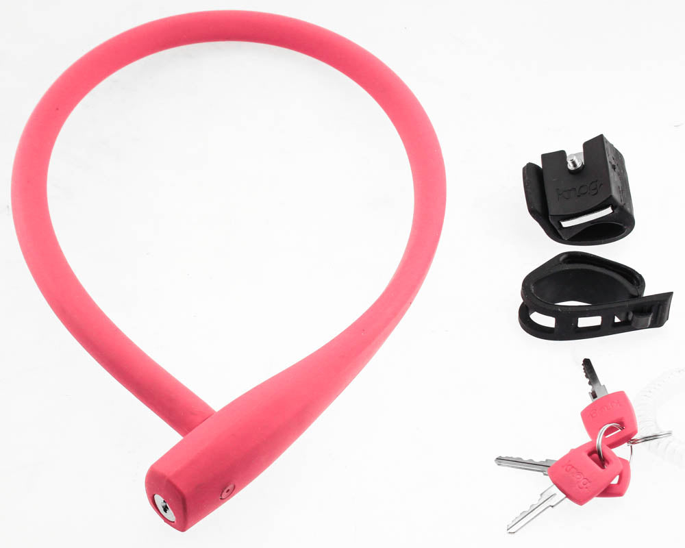 KNOG KABANA 740mm Cable Bike Lock With Bracket Magenta Keyed QR Mount NEW