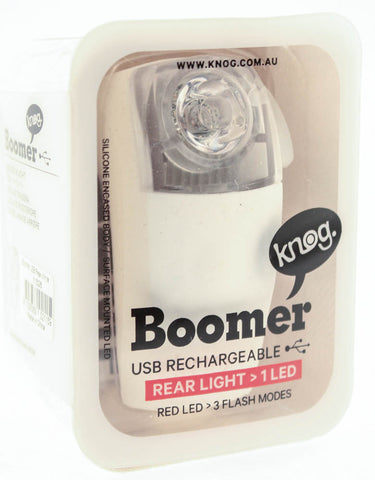 KNOG BOOMER White 1 RED LED Bike Rear Light 5 Lumens 3 Mode 600m Visability NEW