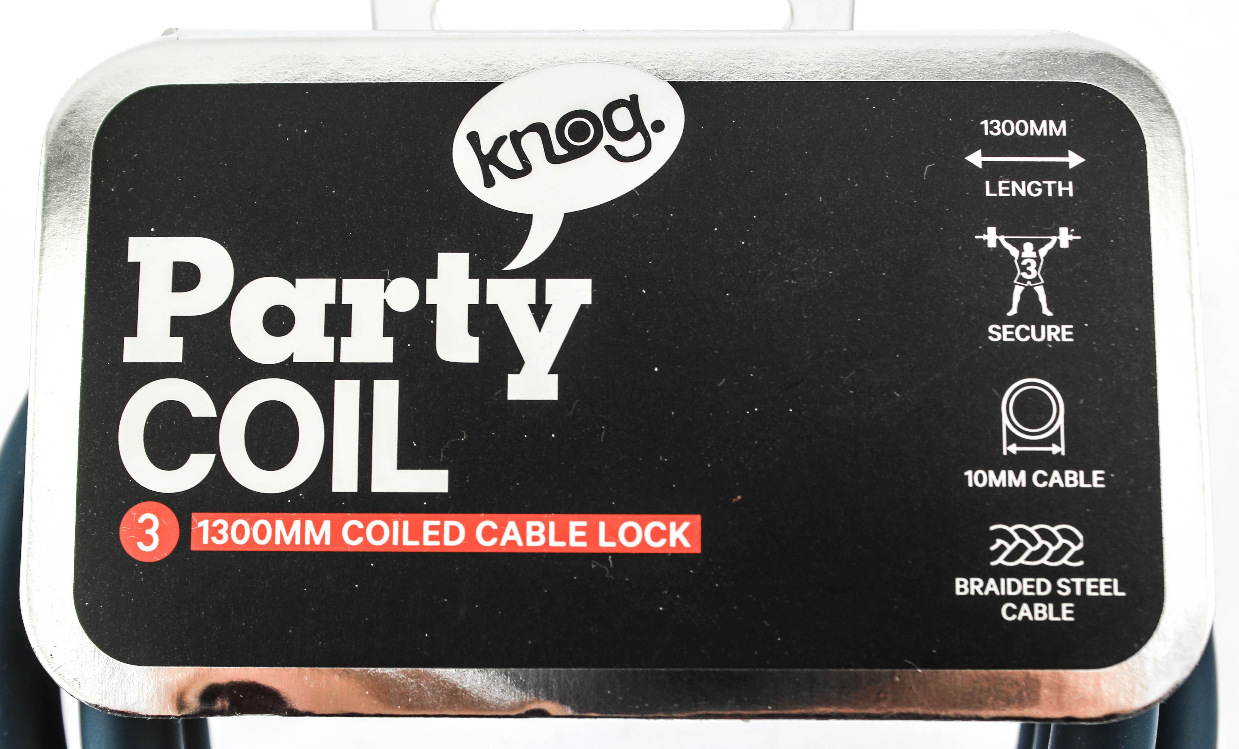 Knog Party Coil 1300mm Coiled Cable Bike Lock 10mm Braided Steel Indigo NEW