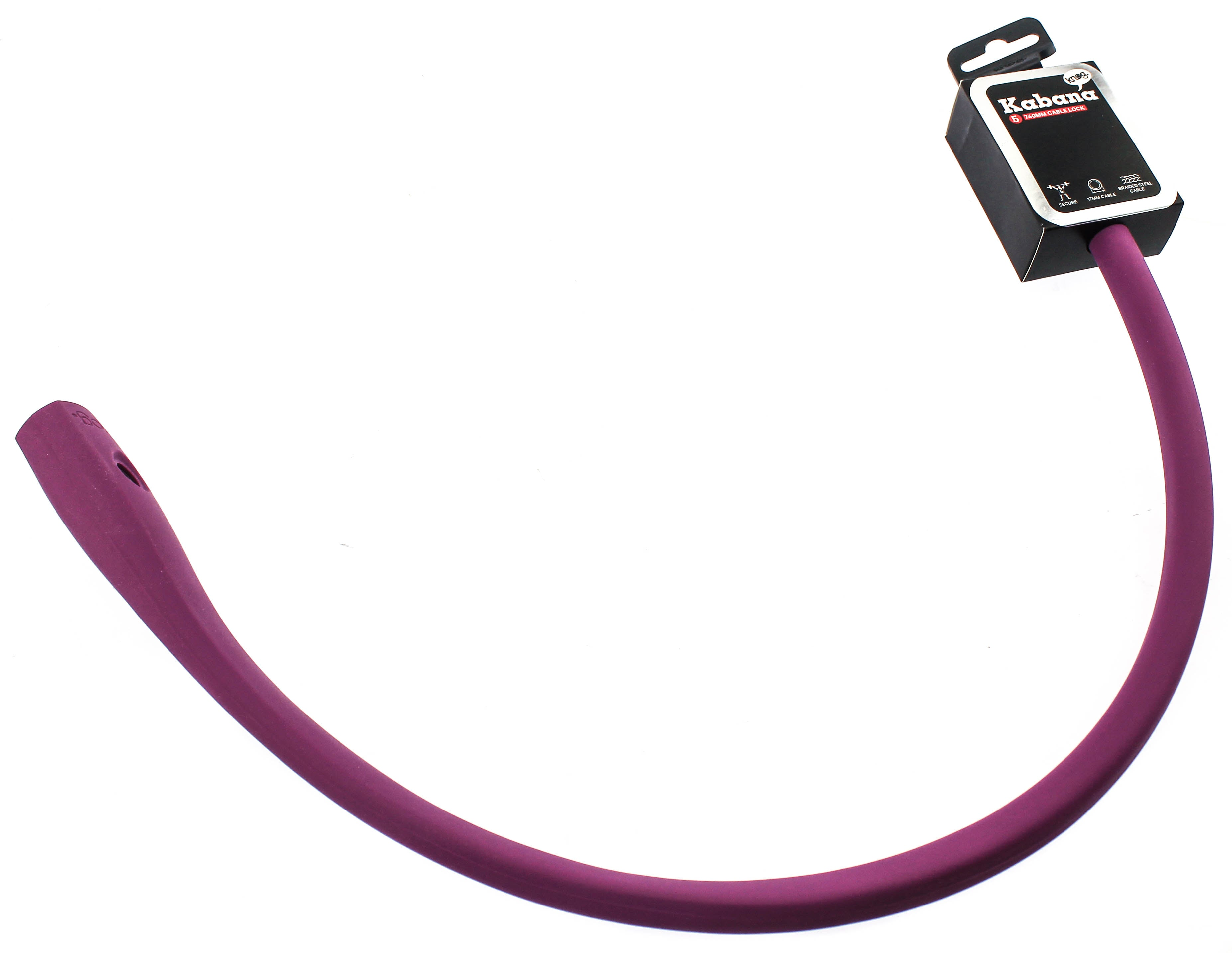 Knog Kabana Cable Bike Lock 740mm Grape Purple Silicone Steel Cable New