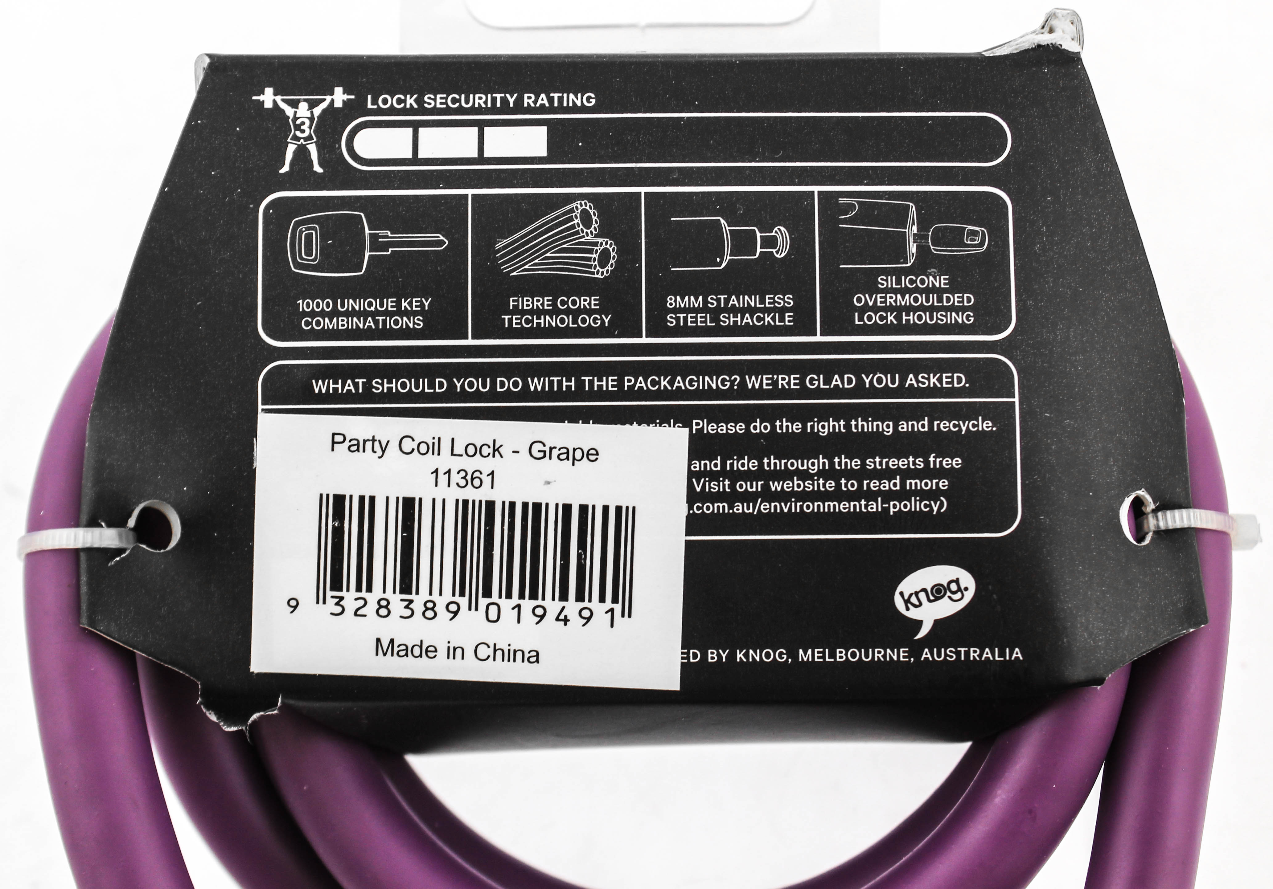 Knog Party Coil 1300mm Coiled Cable Bike Lock Braided Steel Grape Purple NEW