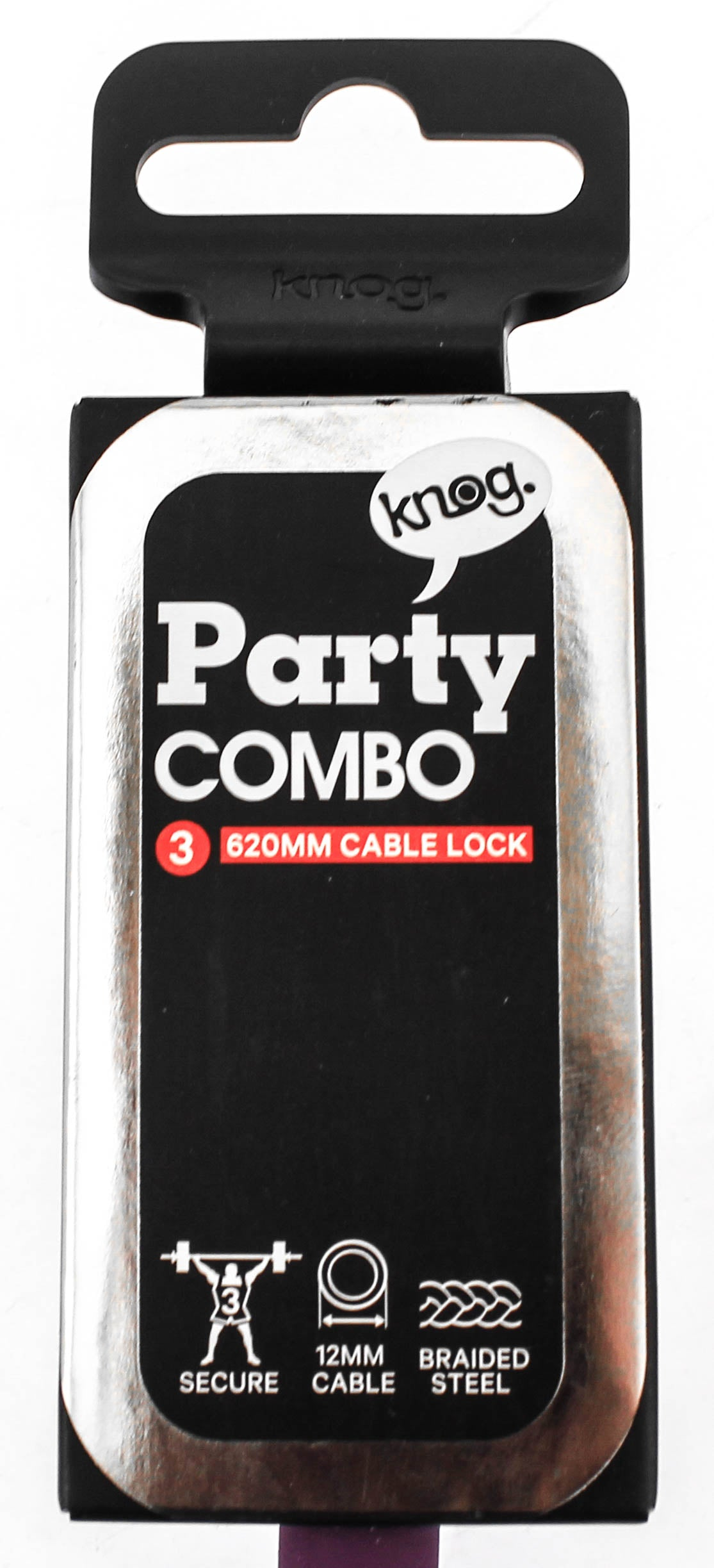 Knog Party Combo 620mm Combination Bike Lock Braided Steel Grape Purple New