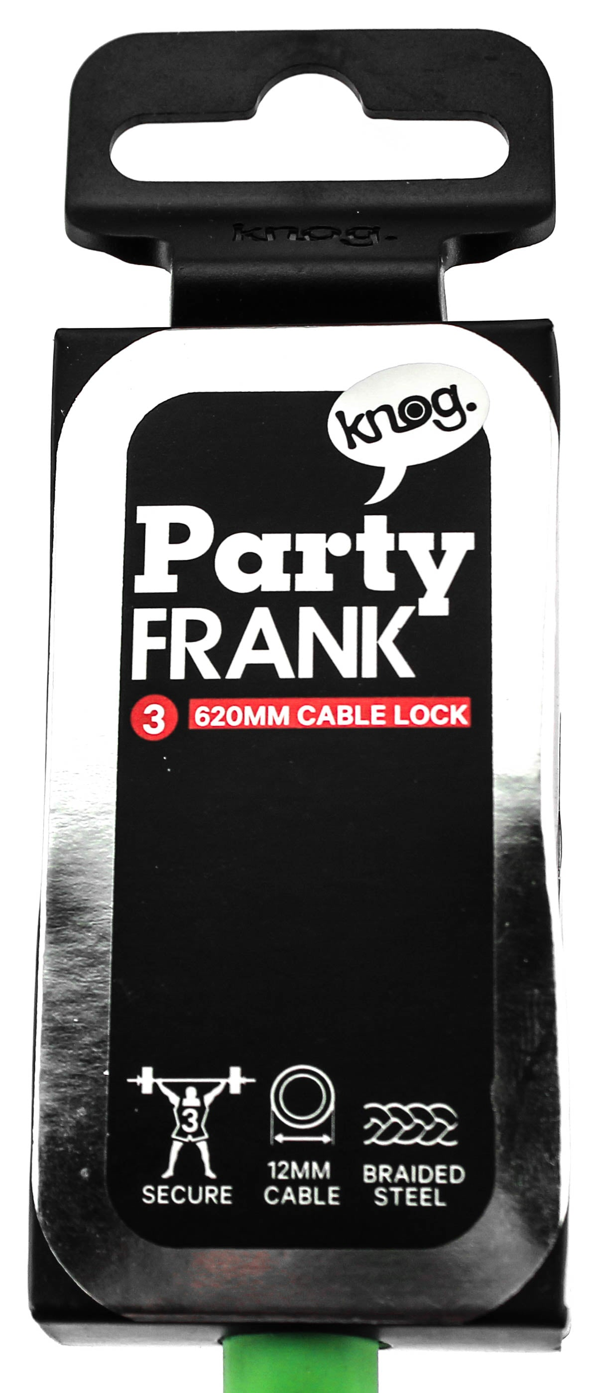 KNOG PARTY FRANK 620mm Cable Bike Lock With Bracket Lime Green Keyed Steel NEW