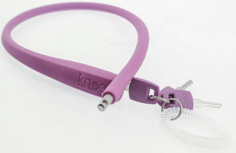 KNOG PARTY FRANK 620mm Cable Bike Lock With Bracket Grape Purple Keyed Steel NEW