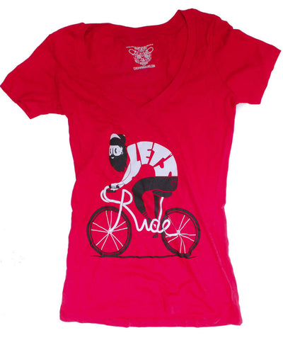 CLOCKWORK GEARS LET'S RIDE Women's Lg T-Shirt Short Sleeve Red V-Neck Cotton NEW