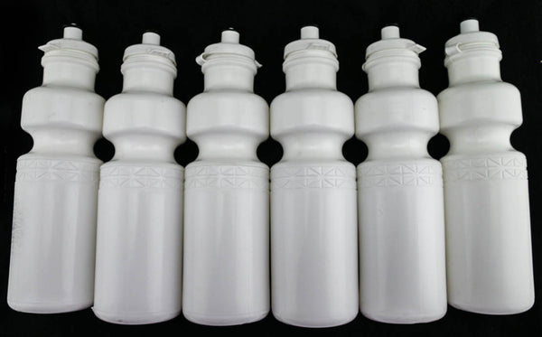 6 QTY California Springs DuoFlow 24oz Ounce Bicycle Water Bottles White NEW