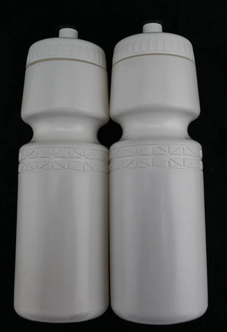 2 QTY 22oz Ounce Bicycle Water Bottles Screw Cap White NEW