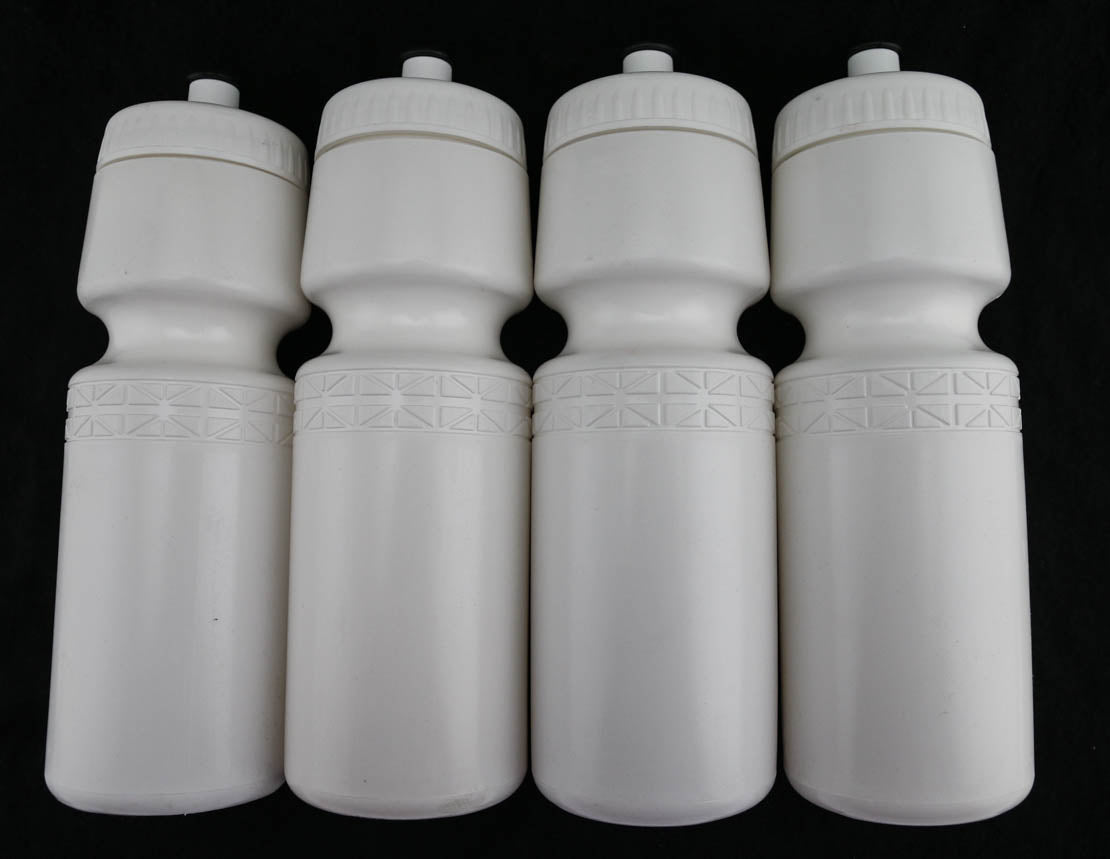 4 QTY 22oz Ounce Bicycle Water Bottles Screw Cap White NEW