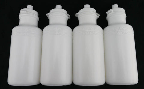 4 QTY California Springs DuoFlow 20oz Ounce Bicycle Water Bottles White NEW