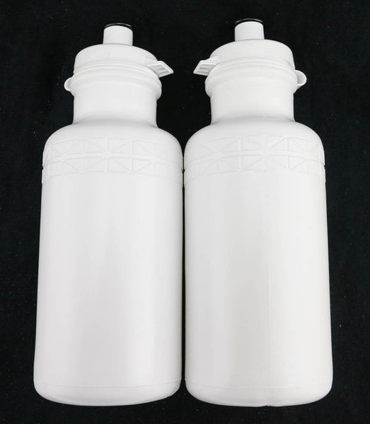 2 QTY California Springs DuoFlow 20oz Ounce Bicycle Water Bottles White NEW