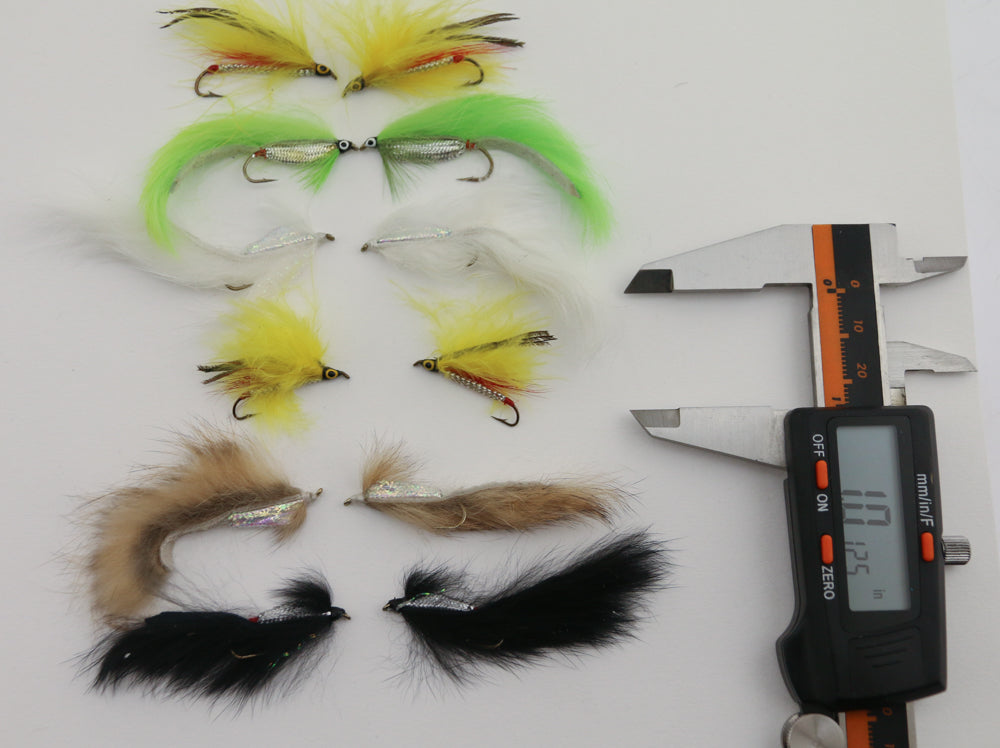 Lot of 12 Dozen Assorted Fly Fishing Flies Green Black Yellow White Brown