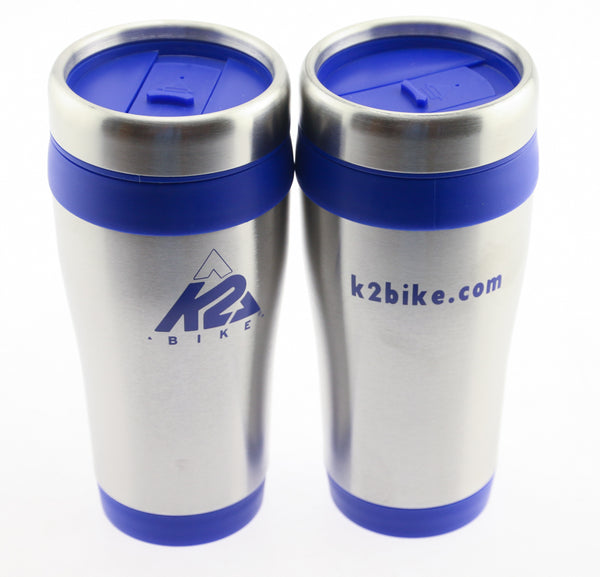 2QTY Rare Authentic K2 Bike Sweda USA 12oz Ounce Stainless Steel Coffee Mugs NEW