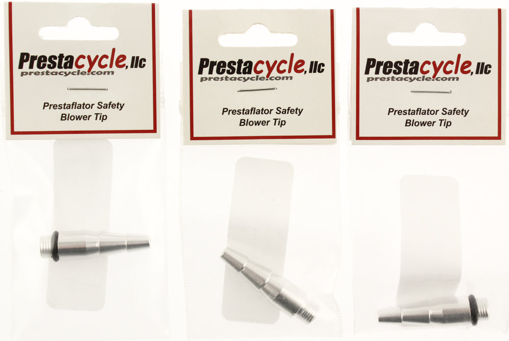 Lot of 3 PrestaCycle Prestaflator Safety Blower Tip 6061- T6 Alloy Silver NEW