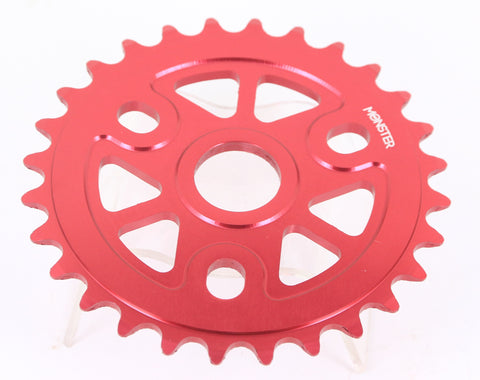 "Redline Monster 28T 1/8"" BMX Bike Chainring 6061 Alloy Red 19 22 24mm NEW"