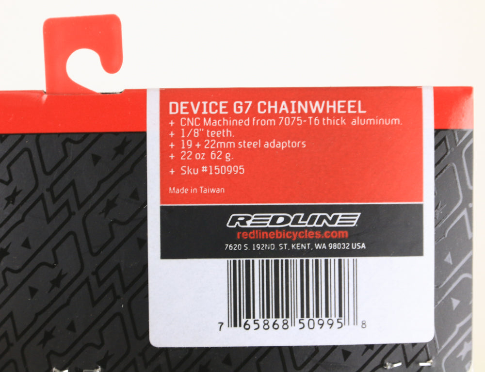 "Redline Device G7 28T 1/8"" BMX Bike Chainring 25T 6061 Alloy 19 22 24mm NEW"