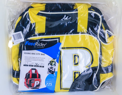 FastRider Young City Pannier Bike Bag 12.5L Water Resistant Black / Yellow NEW