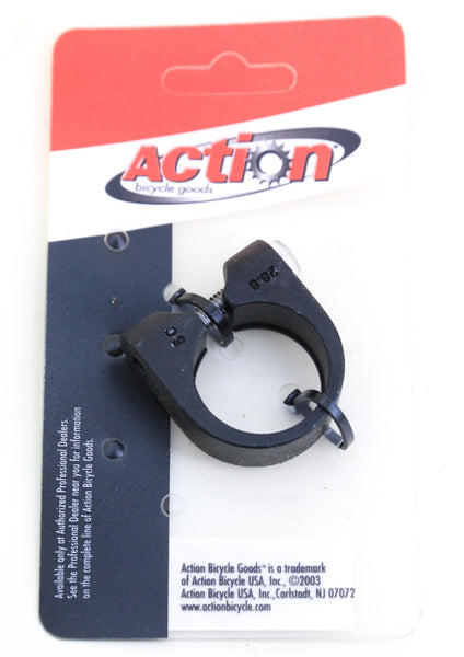 "Action 28.6mm / 1-1/8"" Road BMX MTB Bicycle Seatpost Clamp Aluminum Black NEW"