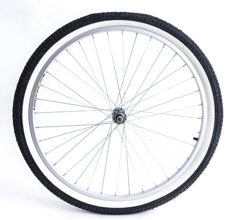 "TM19 26"" Cruiser MTB Bike Front Wheel Whitewall Tire 3/8"" Axle Aluminum Rim NEW"