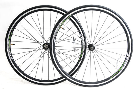 Sundeal 700c Road Bike Wheelset + Tires Rim Brake QR Freewheel GRN New