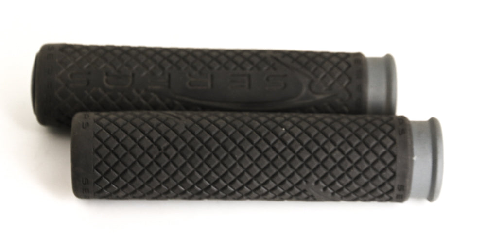 Serfas Black / Gray Flat Bar MTB BMX Hybrid Bike Grips 130mm NEW
