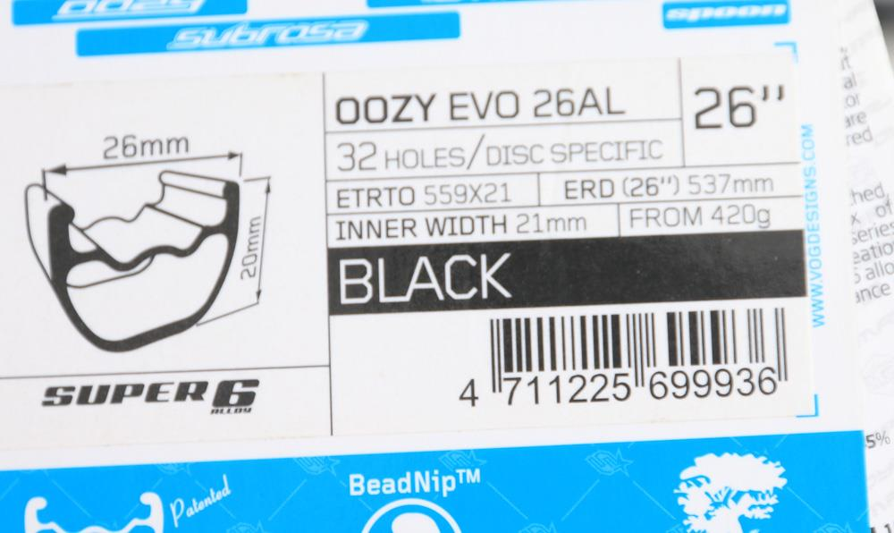 "1 QTY Spank Oozy Evo 26AL 32 Hole 26"" Mountain Bike Wheel Rim Black 420g NEW"