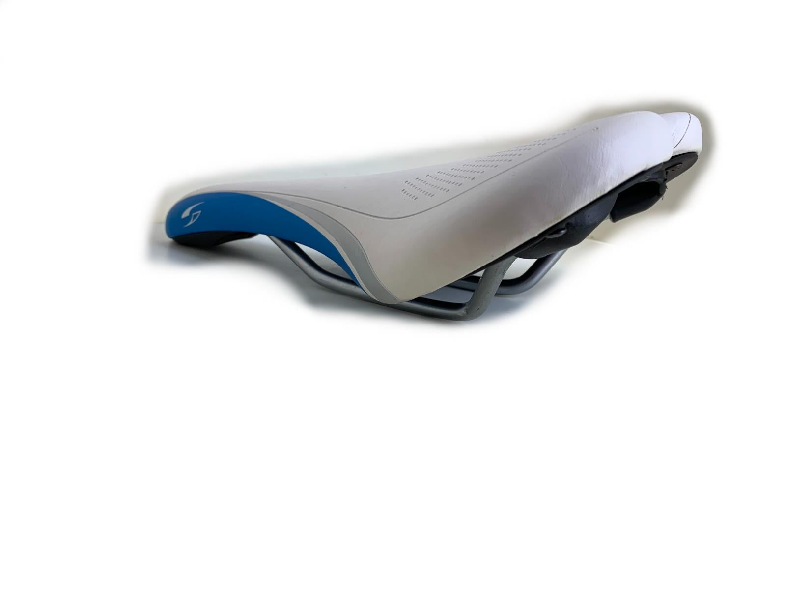 Sundeal Bike Cycling Saddle Seat White/Blue New Take Off BLEM