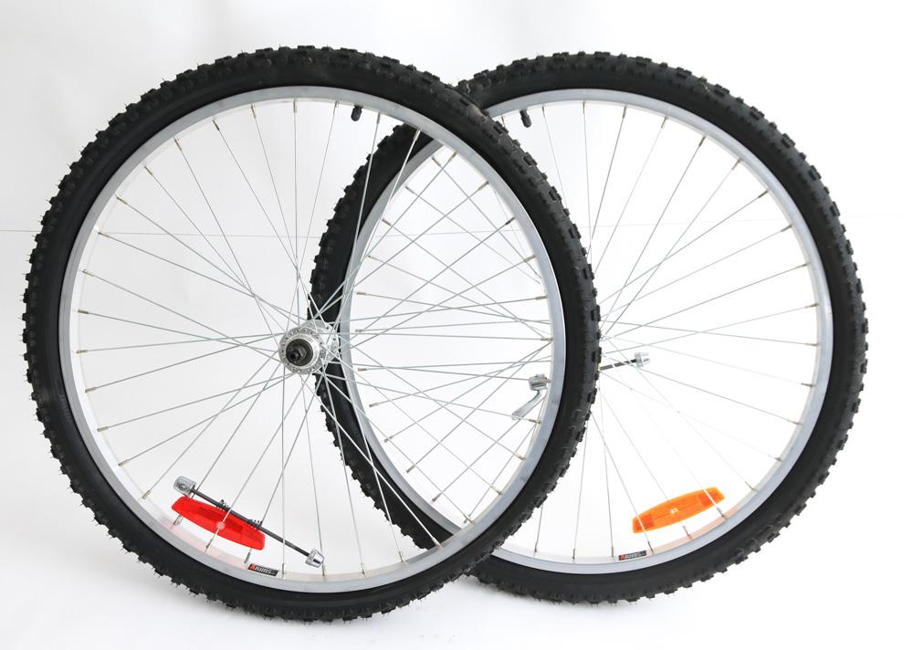 "26"" Alex Xrims MTB Bike Wheelset Freewheel Rim Brake + Tires QR NEW"