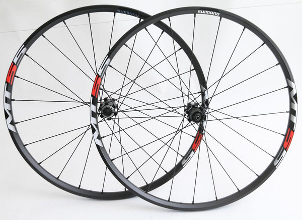 "SHIMANO WH-MT55 26"" MTB Bike Wheelset Disc 8-11s Clincher 15mm / QR NEW"