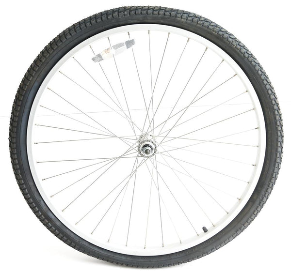 "26"" Front Cruiser MTB Bike Wheel 3/8"" Nutted Axle Aluminum Rim + Tire NEW"