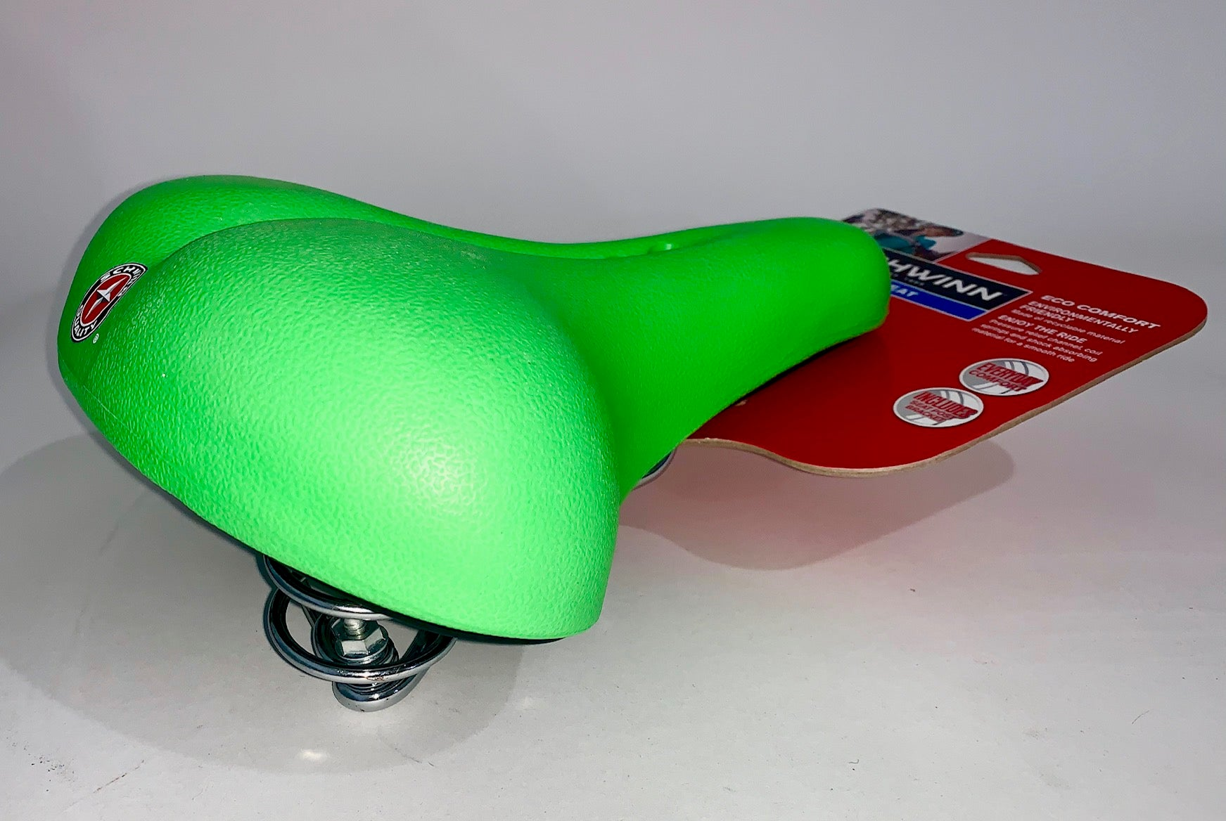 Schwinn Eco Comfort Spring Suspension Bike Seat Lime Green Bike Saddle Seat NEW